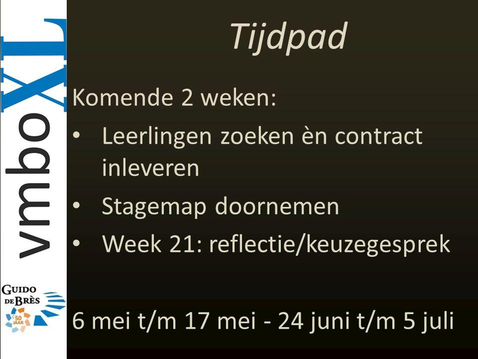 Tijdpad Komende 2 weken: Leerlingen zoeken èn contract inleveren Stagemap doornemen Week 21: reflectie/keuzegesprek 6 mei t/m 17 mei - 24 juni t/m 5 j