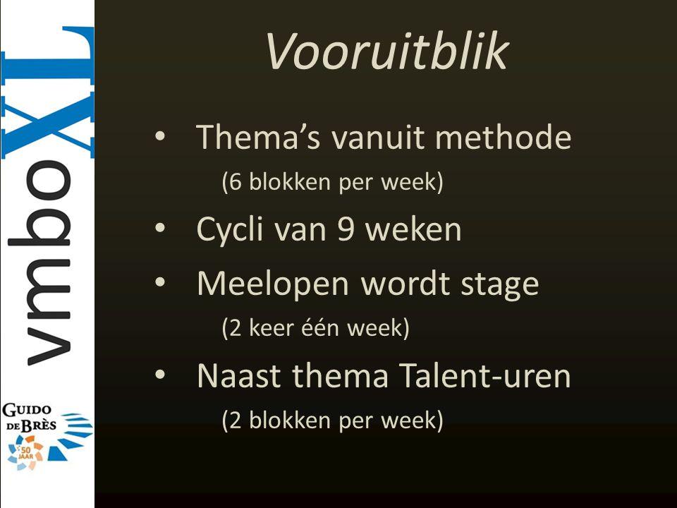 Vooruitblik Thema's vanuit methode (6 blokken per week) Cycli van 9 weken Meelopen wordt stage (2 keer één week) Naast thema Talent-uren (2 blokken pe