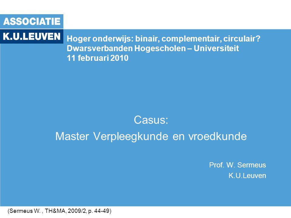 Casus: Master Verpleegkunde en vroedkunde Prof. W. Sermeus K.U.Leuven Hoger onderwijs: binair, complementair, circulair? Dwarsverbanden Hogescholen –