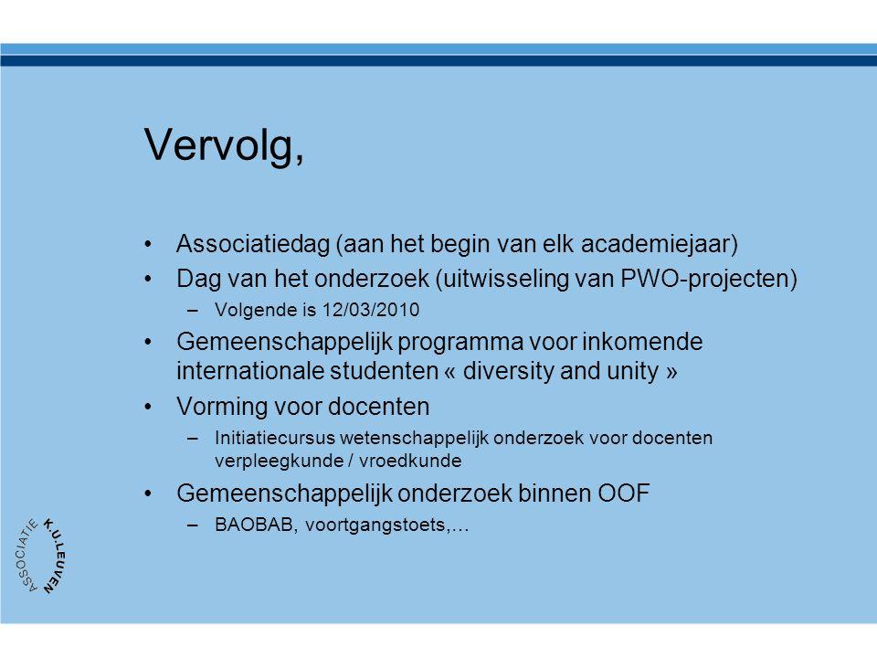 Vervolg, Associatiedag (aan het begin van elk academiejaar) Dag van het onderzoek (uitwisseling van PWO-projecten) –Volgende is 12/03/2010 Gemeenschap