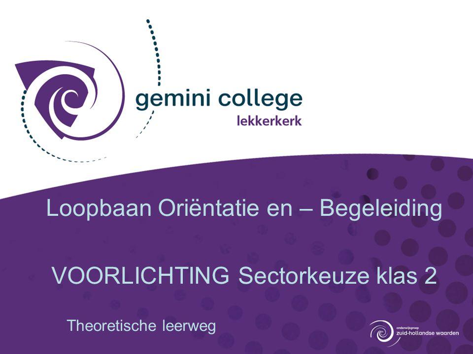 Loopbaan Oriëntatie en – Begeleiding VOORLICHTING Sectorkeuze klas 2 Theoretische leerweg