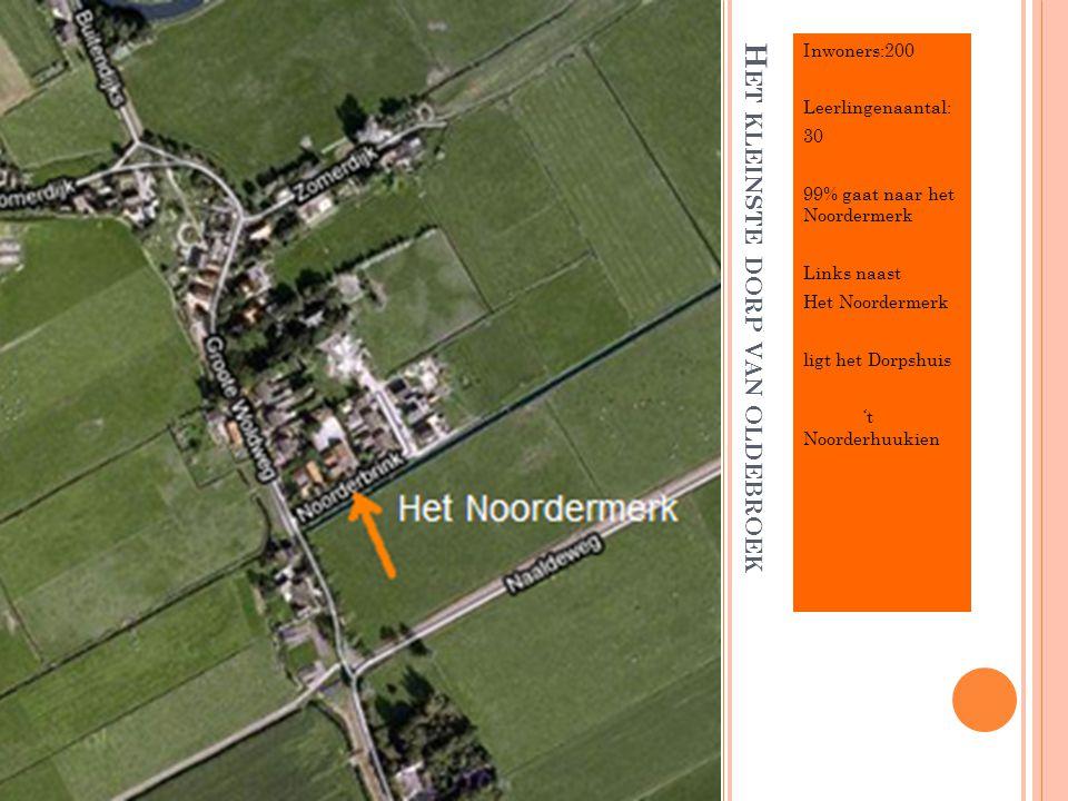 H ET KLEINSTE DORP VAN OLDEBROEK Inwoners:200 Leerlingenaantal: 30 99% gaat naar het Noordermerk Links naast Het Noordermerk ligt het Dorpshuis 't Noo