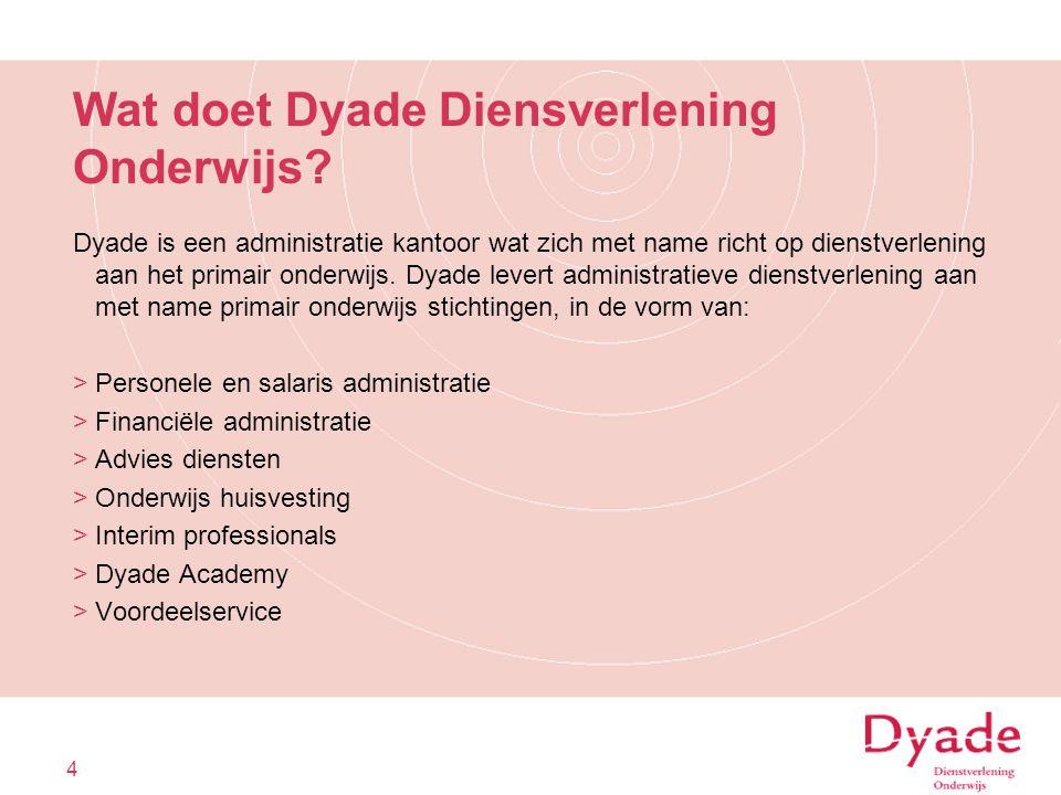 Wat doet Dyade Diensverlening Onderwijs? Dyade is een administratie kantoor wat zich met name richt op dienstverlening aan het primair onderwijs. Dyad