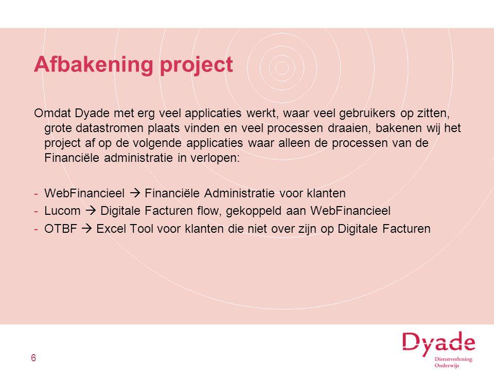 Afbakening project Omdat Dyade met erg veel applicaties werkt, waar veel gebruikers op zitten, grote datastromen plaats vinden en veel processen draai
