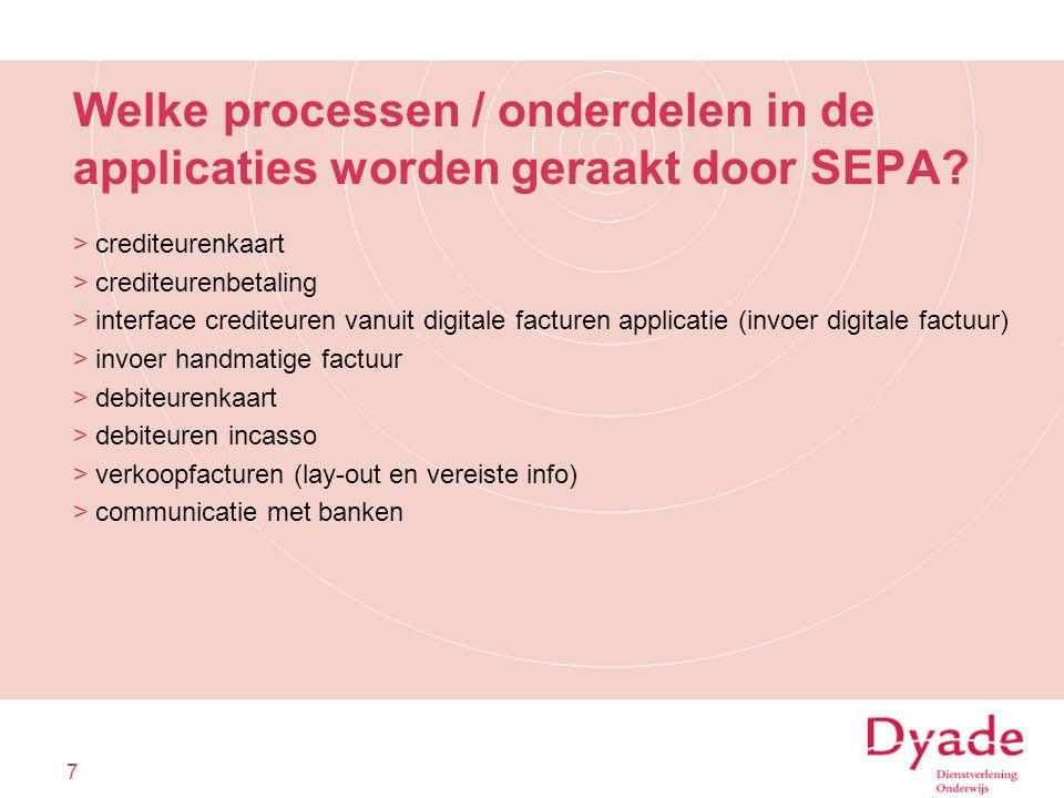 Welke processen / onderdelen in de applicaties worden geraakt door SEPA? >crediteurenkaart >crediteurenbetaling >interface crediteuren vanuit digitale