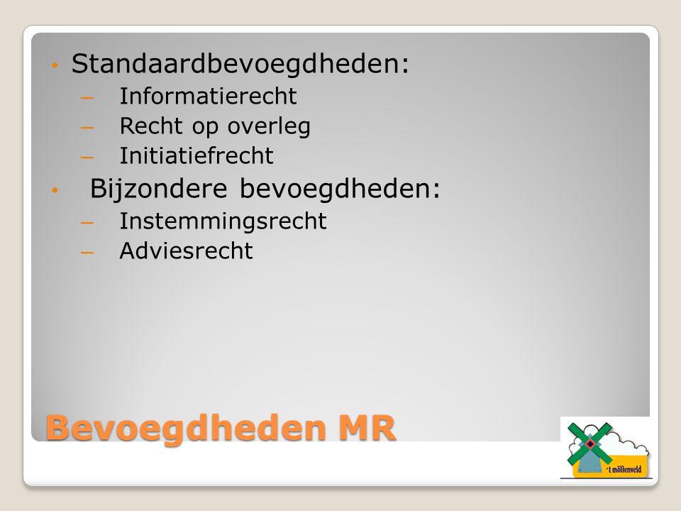 Bevoegdheden MR Standaardbevoegdheden: – Informatierecht – Recht op overleg – Initiatiefrecht Bijzondere bevoegdheden: – Instemmingsrecht – Adviesrech