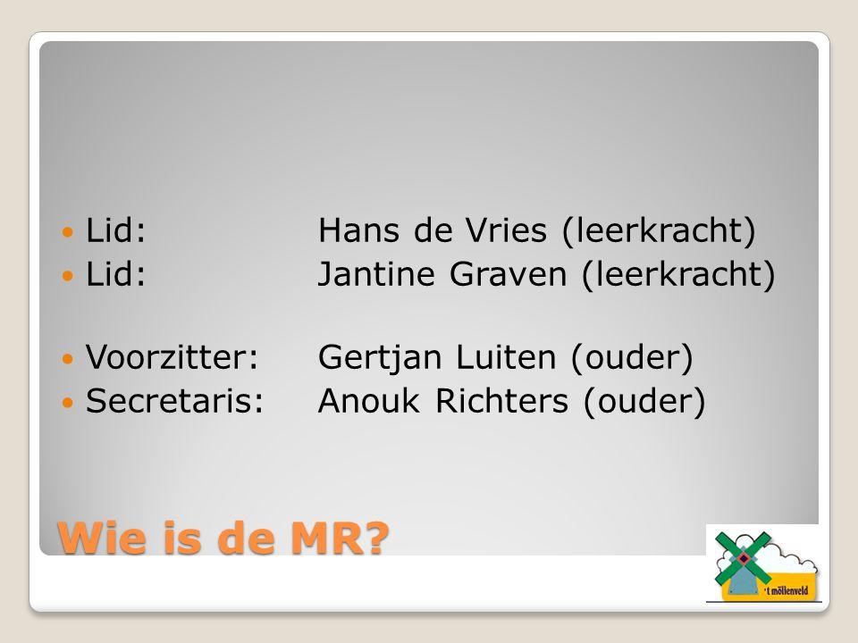 Wie is de MR? Lid:Hans de Vries (leerkracht) Lid:Jantine Graven (leerkracht) Voorzitter:Gertjan Luiten (ouder) Secretaris:Anouk Richters (ouder)