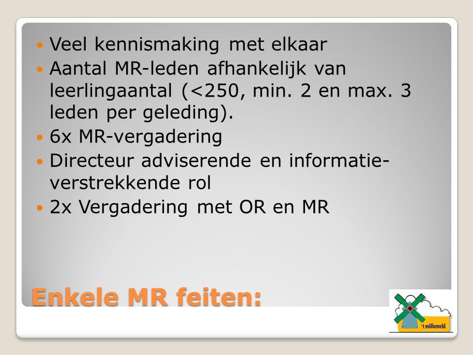 Enkele MR feiten: Veel kennismaking met elkaar Aantal MR-leden afhankelijk van leerlingaantal (<250, min. 2 en max. 3 leden per geleding). 6x MR-verga