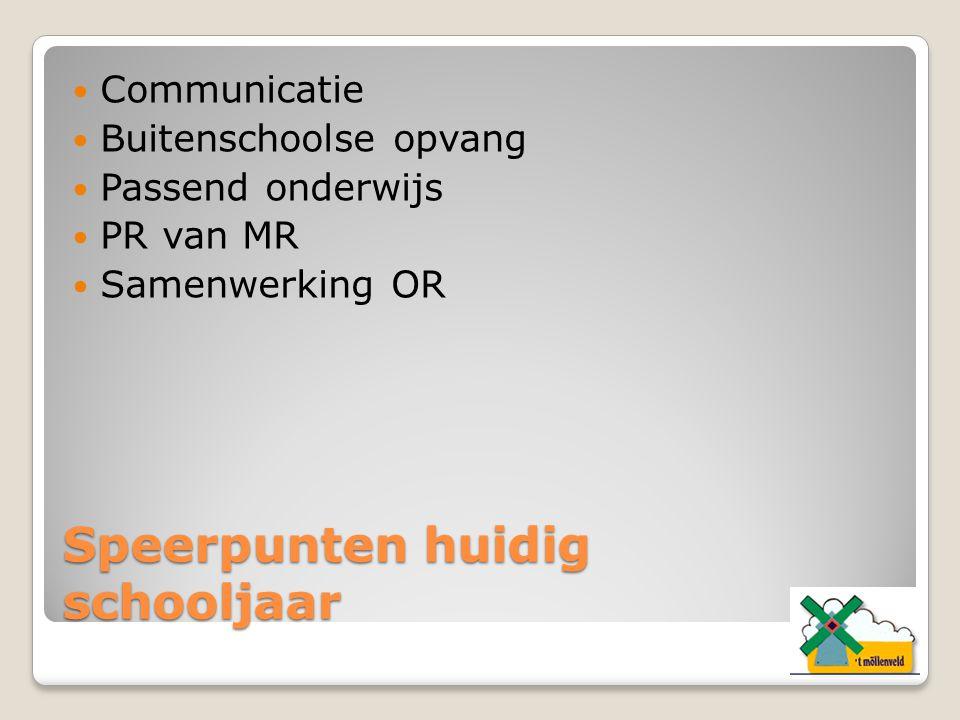 Speerpunten huidig schooljaar Communicatie Buitenschoolse opvang Passend onderwijs PR van MR Samenwerking OR