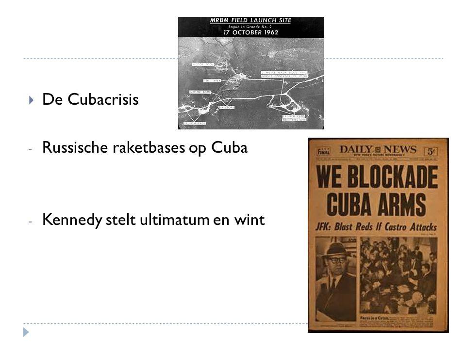  De Cubacrisis - Russische raketbases op Cuba - Kennedy stelt ultimatum en wint