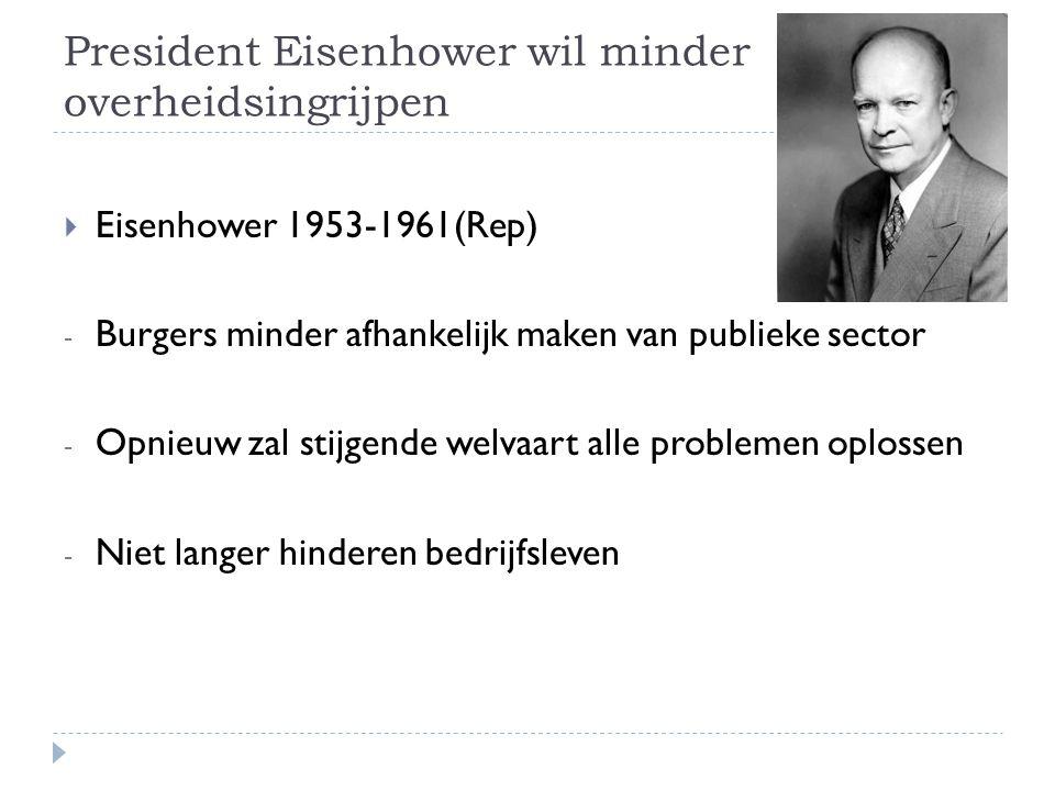 President Eisenhower wil minder overheidsingrijpen  Eisenhower 1953-1961(Rep) - Burgers minder afhankelijk maken van publieke sector - Opnieuw zal st