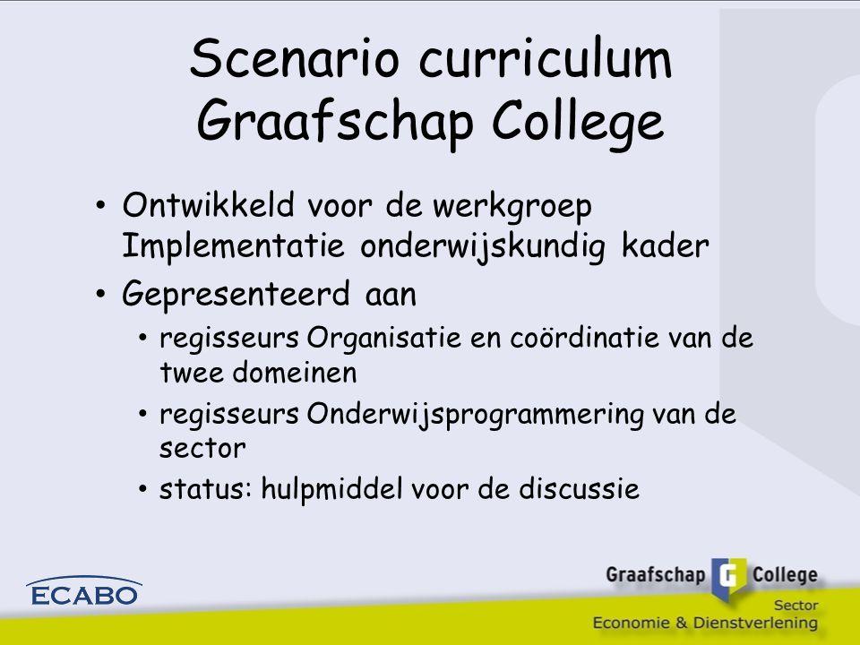 Scenario curriculum Graafschap College Ontwikkeld voor de werkgroep Implementatie onderwijskundig kader Gepresenteerd aan regisseurs Organisatie en coördinatie van de twee domeinen regisseurs Onderwijsprogrammering van de sector status: hulpmiddel voor de discussie