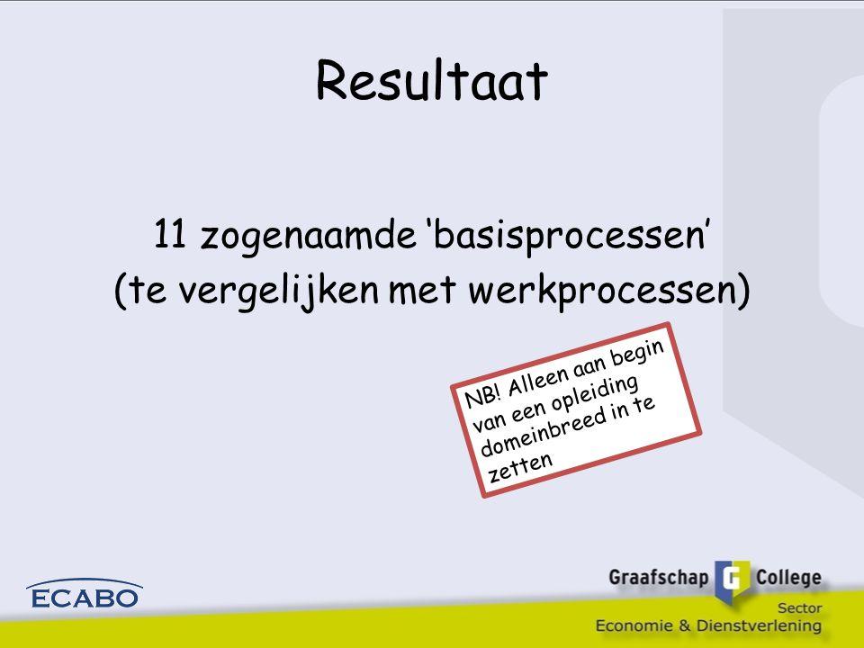 Resultaat 11 zogenaamde 'basisprocessen' (te vergelijken met werkprocessen) NB.