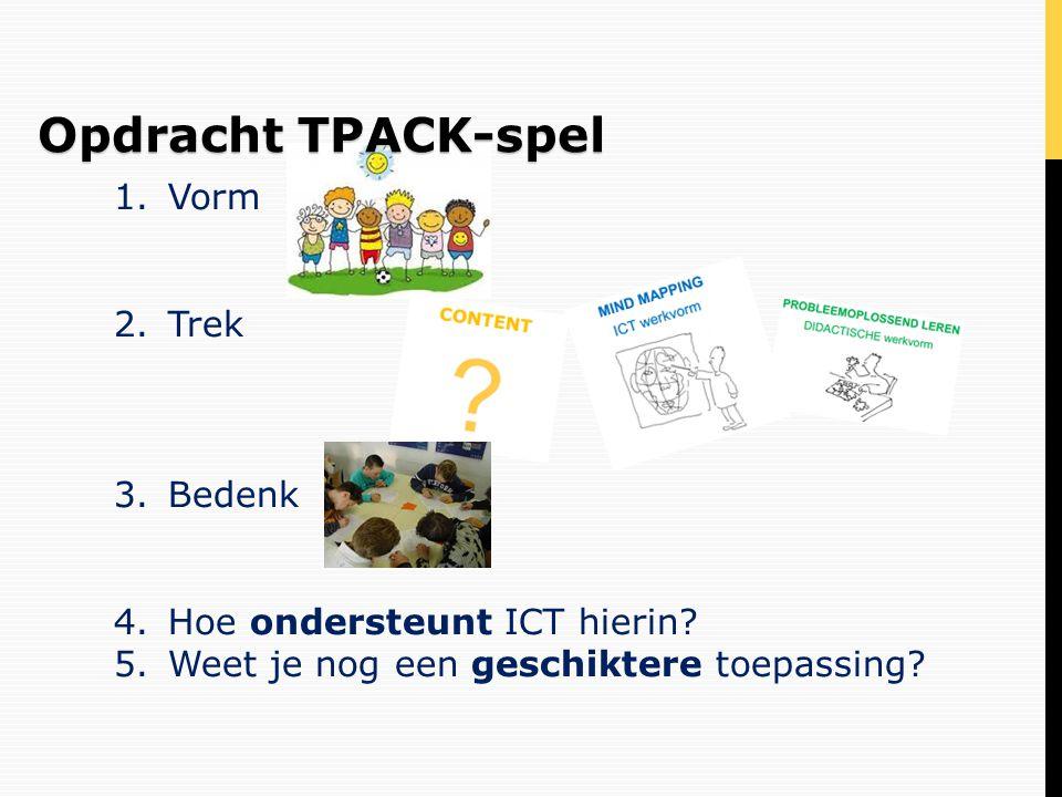 1.Vorm 2.Trek 3.Bedenk 4.Hoe ondersteunt ICT hierin? 5.Weet je nog een geschiktere toepassing? Opdracht TPACK-spel