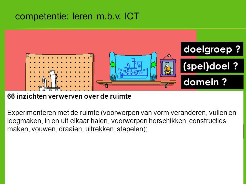(spel)doel ? doelgroep ? kennen ? kunnen ? hoe leren ? domein ? competentie: leren m.b.v. ICT 66 inzichten verwerven over de ruimte Experimenteren met