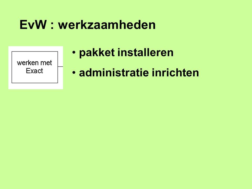 EvW : werkzaamheden pakket installeren administratie inrichten