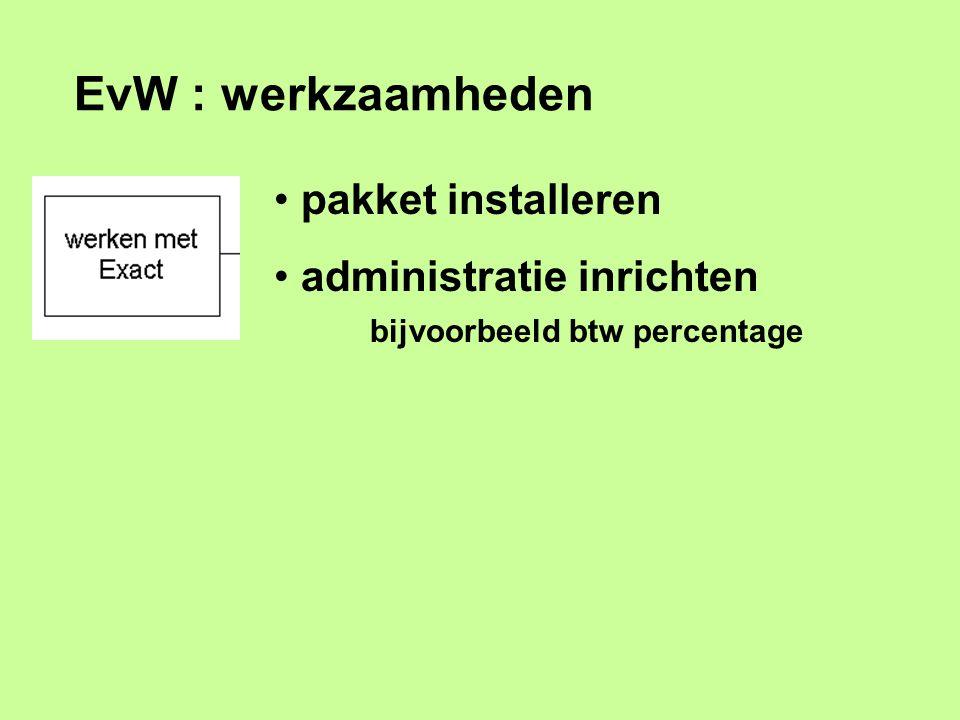 EvW : werkzaamheden pakket installeren administratie inrichten bijvoorbeeld btw percentage