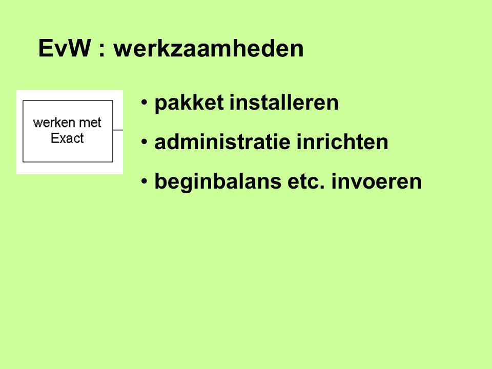 EvW : werkzaamheden pakket installeren administratie inrichten beginbalans etc. invoeren
