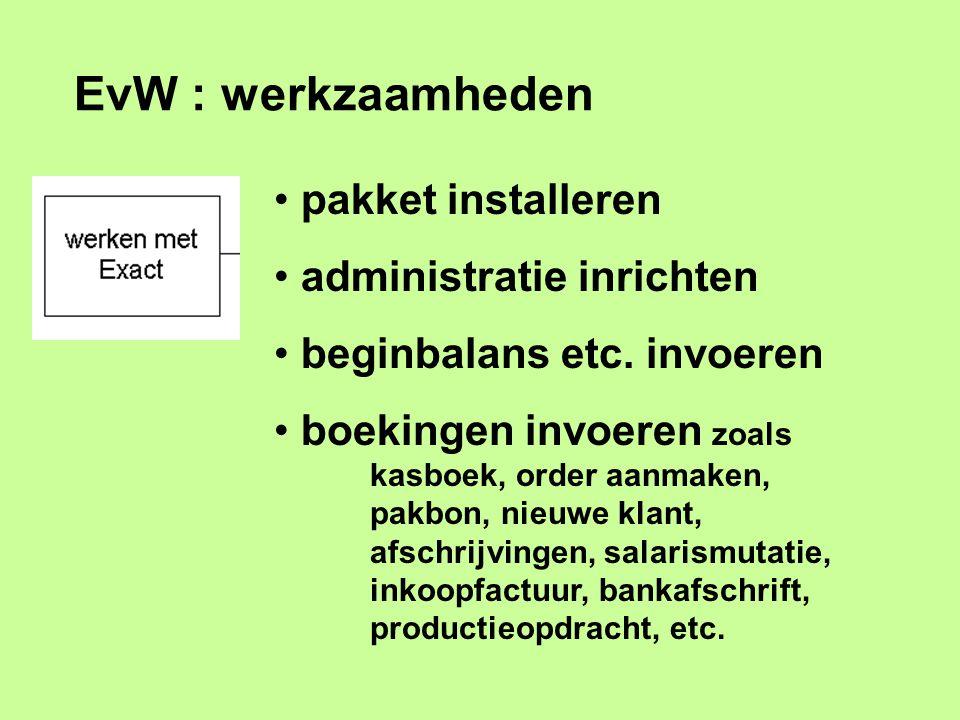 EvW : werkzaamheden pakket installeren administratie inrichten beginbalans etc. invoeren boekingen invoeren zoals kasboek, order aanmaken, pakbon, nie