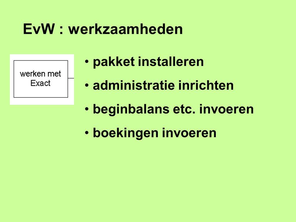 EvW : werkzaamheden pakket installeren administratie inrichten beginbalans etc. invoeren boekingen invoeren