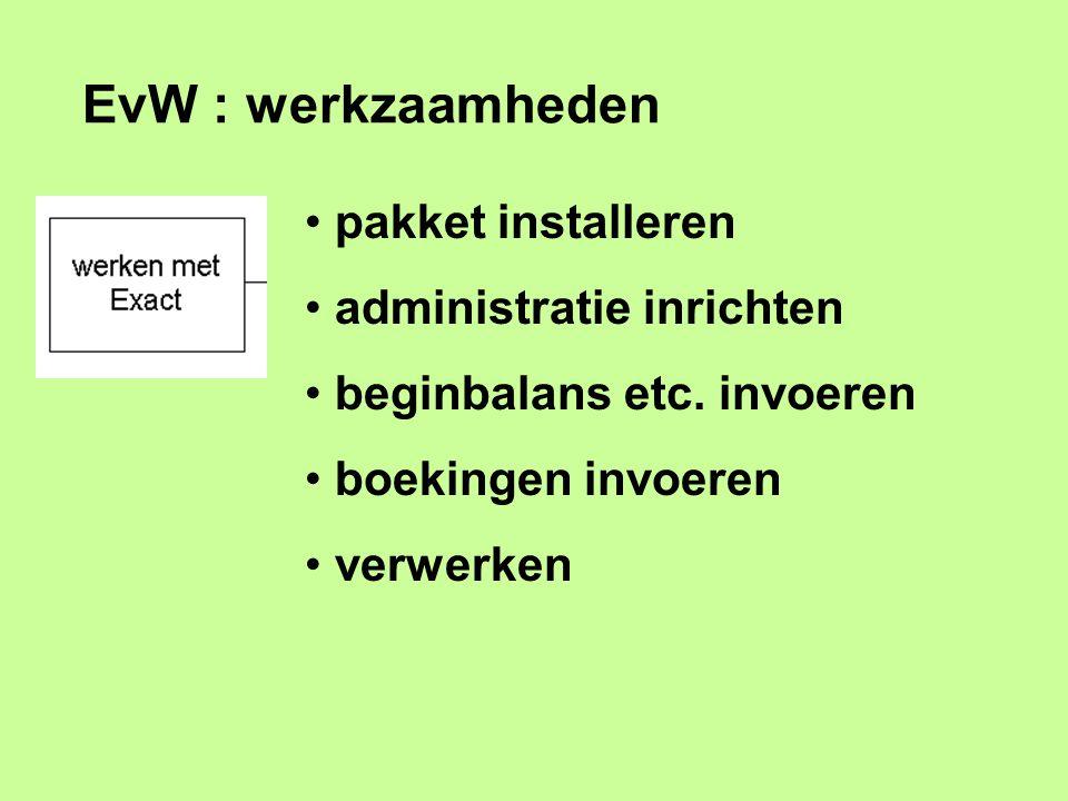EvW : werkzaamheden pakket installeren administratie inrichten beginbalans etc. invoeren boekingen invoeren verwerken