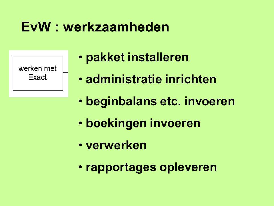 EvW : werkzaamheden pakket installeren administratie inrichten beginbalans etc. invoeren boekingen invoeren verwerken rapportages opleveren