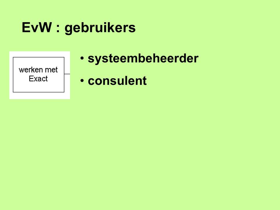 EvW : gebruikers systeembeheerder consulent