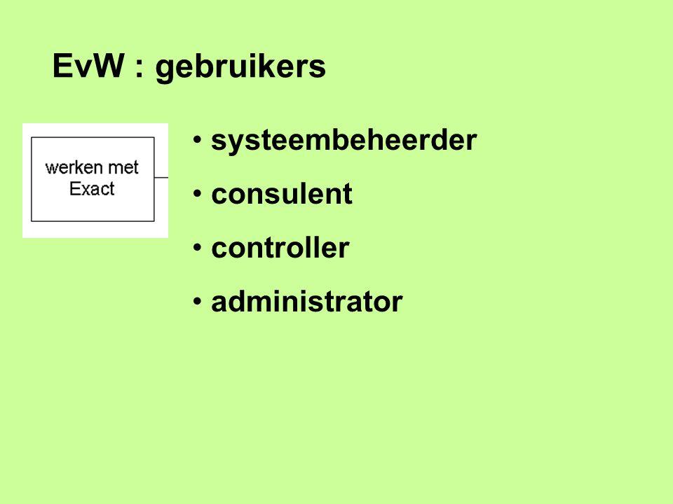 EvW : gebruikers systeembeheerder consulent controller administrator