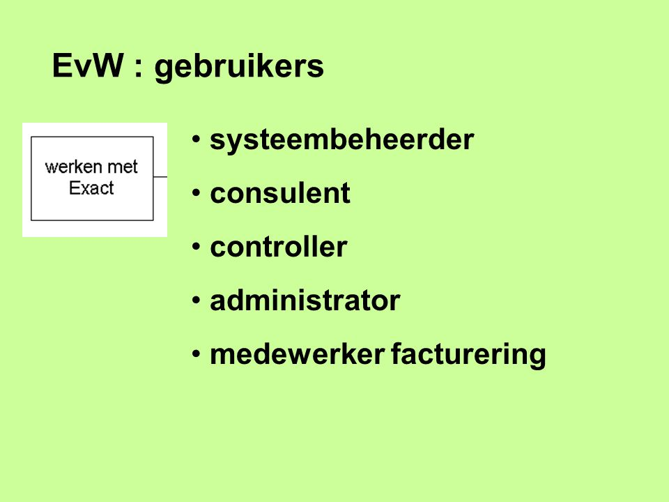 EvW : gebruikers systeembeheerder consulent controller administrator medewerker facturering