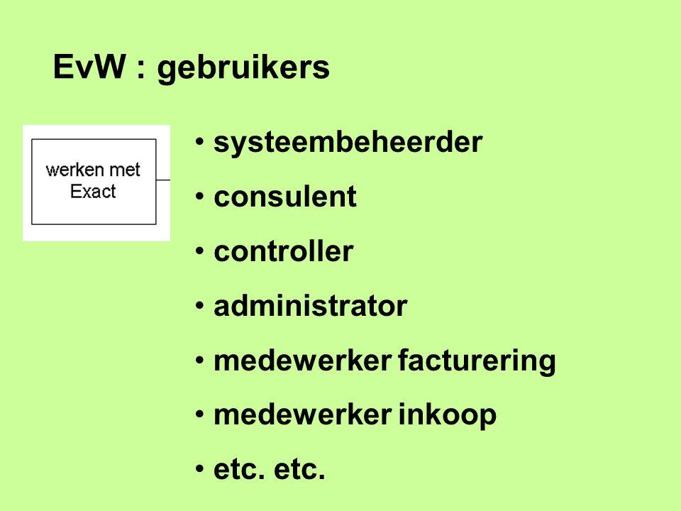 EvW : gebruikers systeembeheerder consulent controller administrator medewerker facturering medewerker inkoop etc. etc.