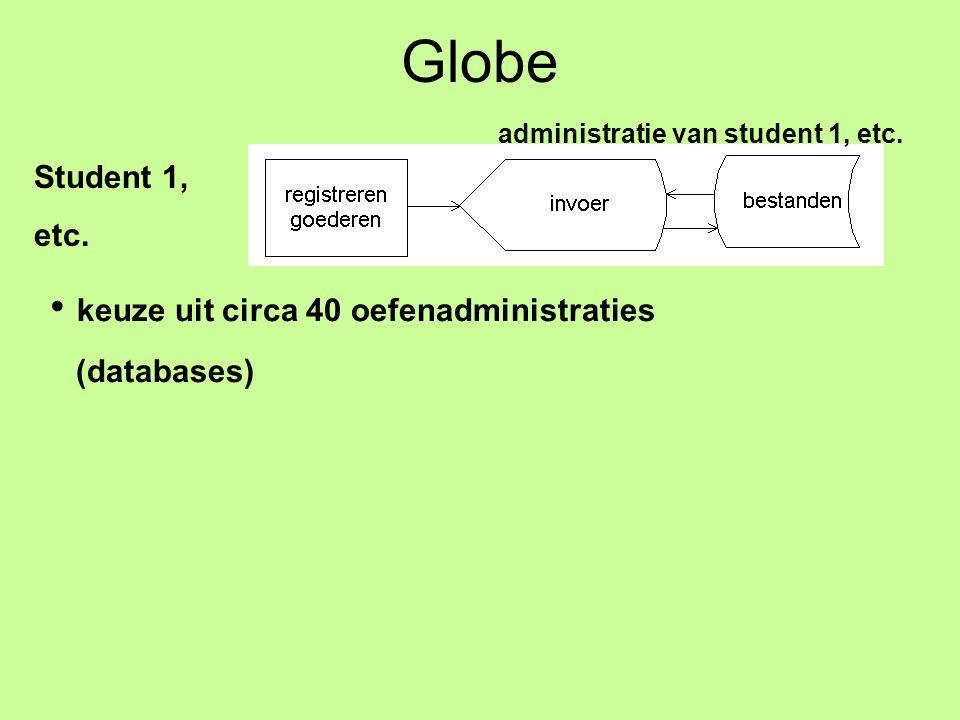 Globe Student 1, etc. administratie van student 1, etc. keuze uit circa 40 oefenadministraties (databases)
