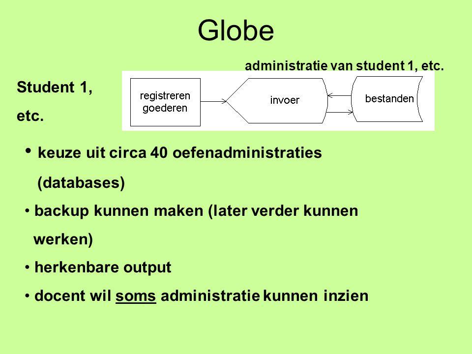 Globe Student 1, etc. administratie van student 1, etc.