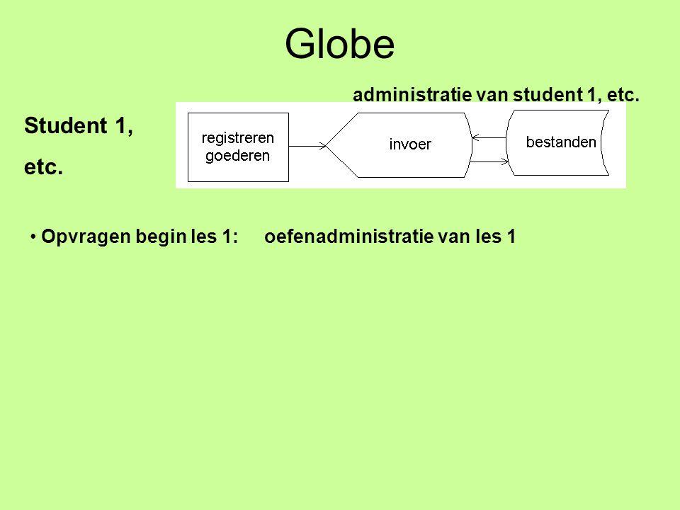 Globe Student 1, etc. administratie van student 1, etc. Opvragen begin les 1: oefenadministratie van les 1