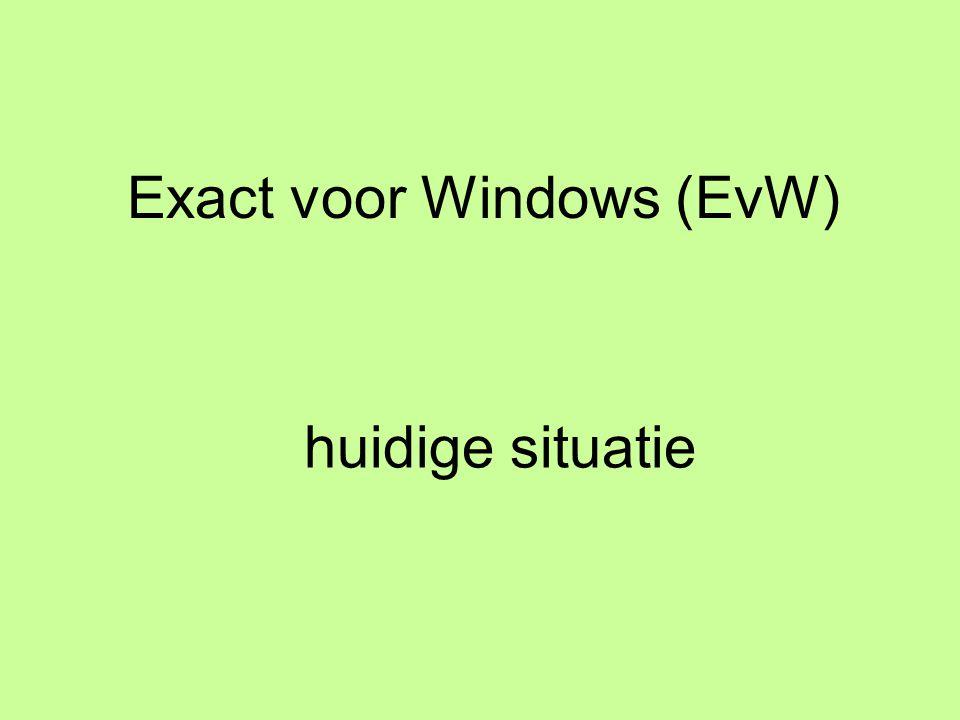 Exact voor Windows (EvW) huidige situatie