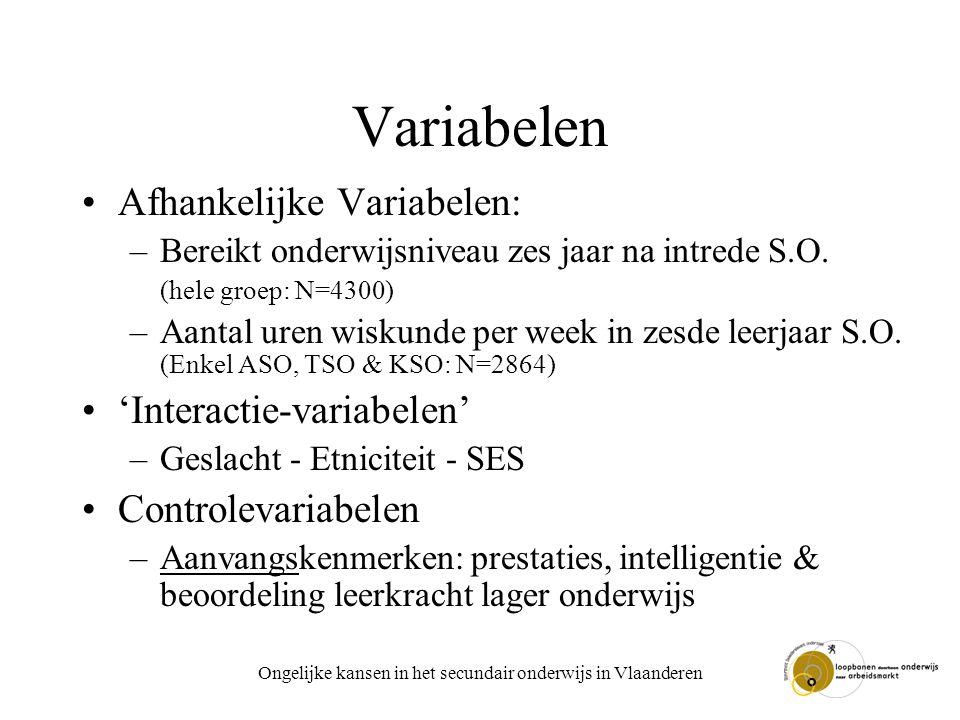 Ongelijke kansen in het secundair onderwijs in Vlaanderen Variabelen Afhankelijke Variabelen: –Bereikt onderwijsniveau zes jaar na intrede S.O. (hele