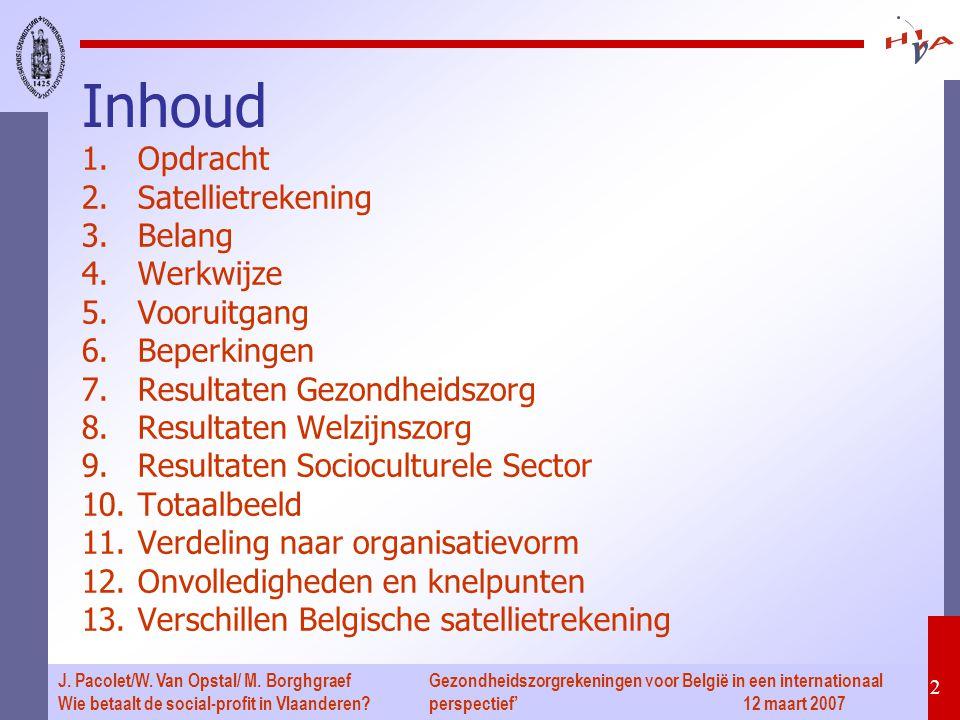 Gezondheidszorgrekeningen voor België in een internationaal perspectief' 12 maart 2007 2 J. Pacolet/W. Van Opstal/ M. Borghgraef Wie betaalt de social