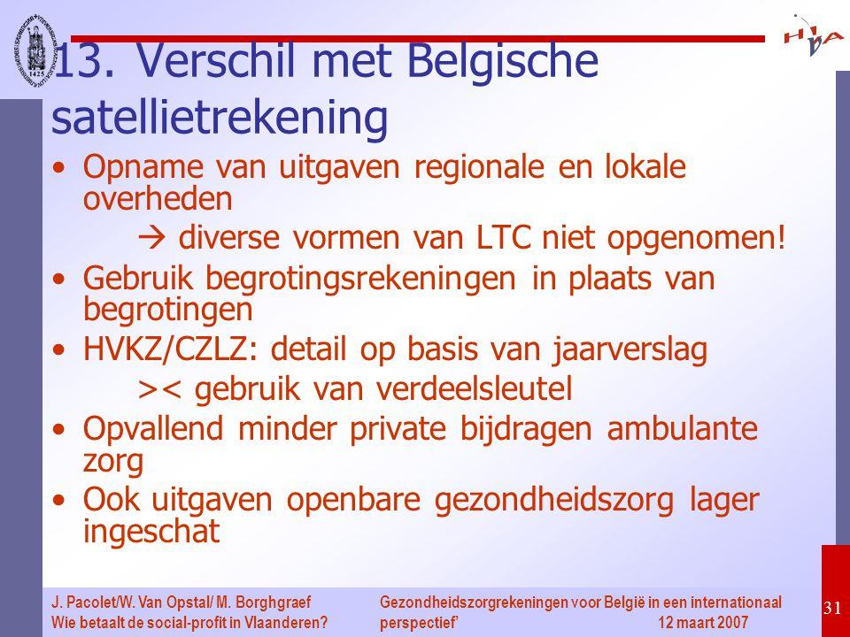 Gezondheidszorgrekeningen voor België in een internationaal perspectief' 12 maart 2007 31 J. Pacolet/W. Van Opstal/ M. Borghgraef Wie betaalt de socia