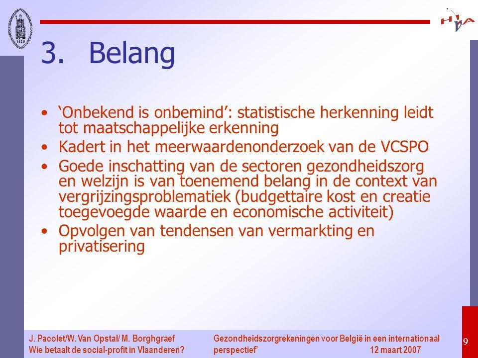 Gezondheidszorgrekeningen voor België in een internationaal perspectief' 12 maart 2007 30 J.