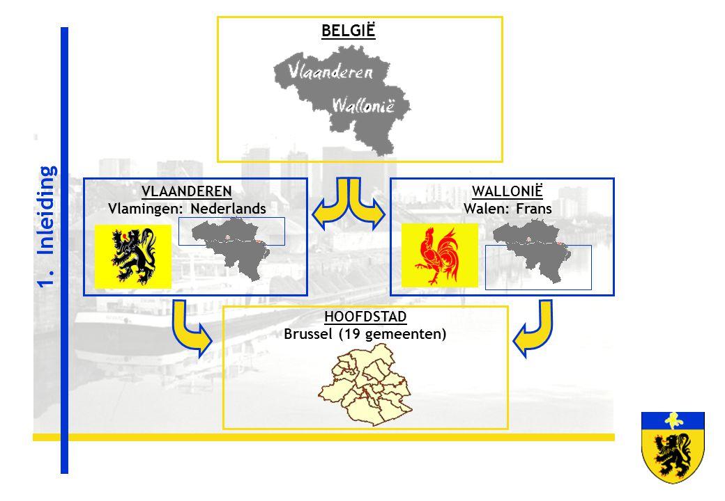 HOOFDSTAD Brussel (19 gemeenten) WALLONIË Walen: Frans VLAANDEREN Vlamingen: Nederlands BELGIË 1. Inleiding