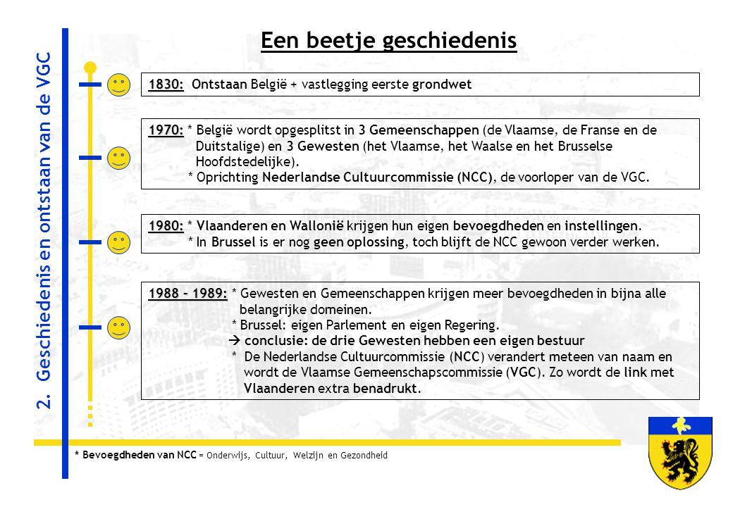Een beetje geschiedenis 1830: 1830: Ontstaan België + vastlegging eerste grondwet 1970: 1970: * België wordt opgesplitst in 3 Gemeenschappen (de Vlaam