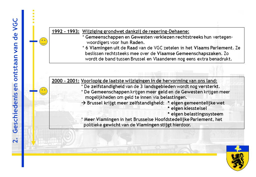 1992 - 1993: 1992 - 1993: Wijziging grondwet dankzij de regering-Dehaene: * Gemeenschappen en Gewesten verkiezen rechtstreeks hun vertegen- woordigers