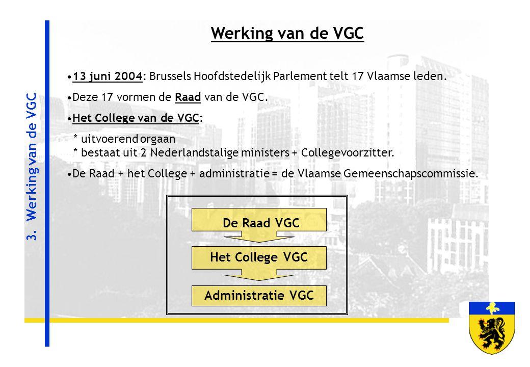 3. Werking van de VGC De Raad VGC Het College VGC Administratie VGC Werking van de VGC 13 juni 2004: Brussels Hoofdstedelijk Parlement telt 17 Vlaamse