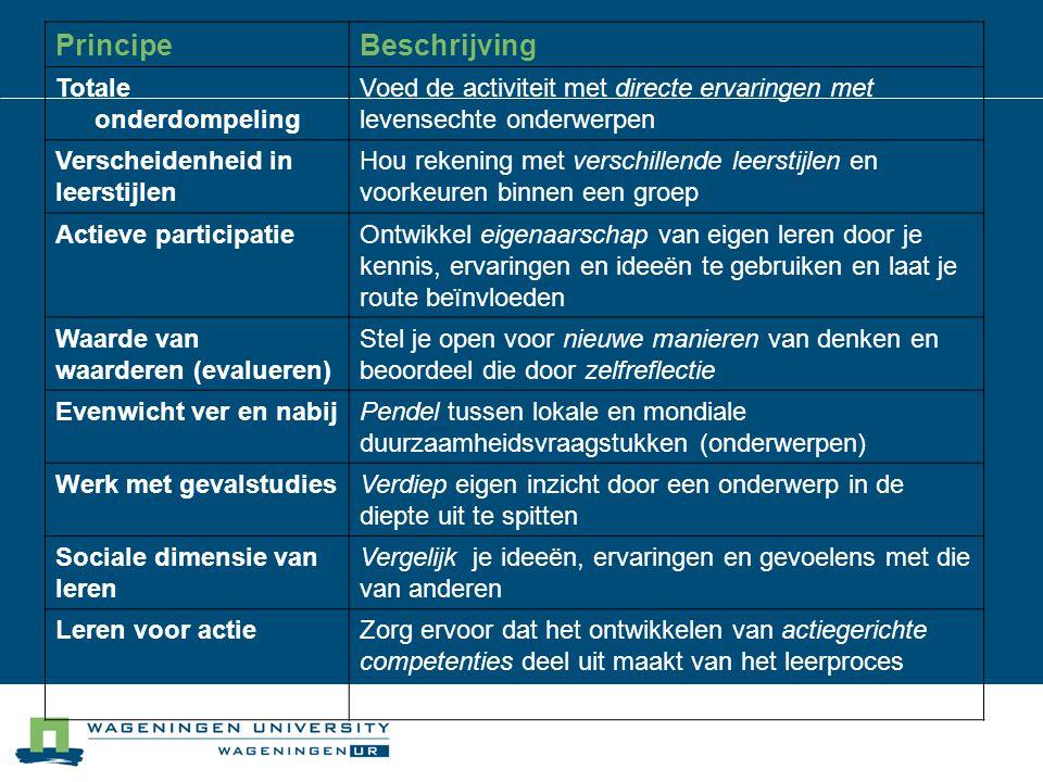 PrincipeBeschrijving Totale onderdompeling Voed de activiteit met directe ervaringen met levensechte onderwerpen Verscheidenheid in leerstijlen Hou re