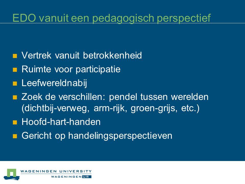 EDO vanuit een pedagogisch perspectief Vertrek vanuit betrokkenheid Ruimte voor participatie Leefwereldnabij Zoek de verschillen: pendel tussen wereld