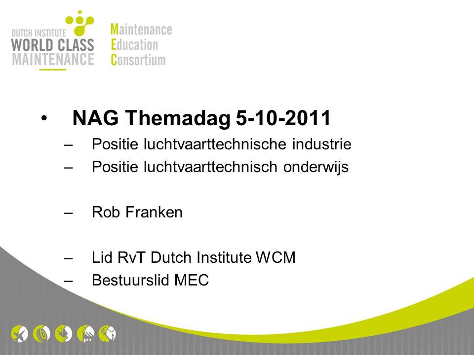 NAG Themadag 5-10-2011 –Positie luchtvaarttechnische industrie –Positie luchtvaarttechnisch onderwijs –Rob Franken –Lid RvT Dutch Institute WCM –Bestu