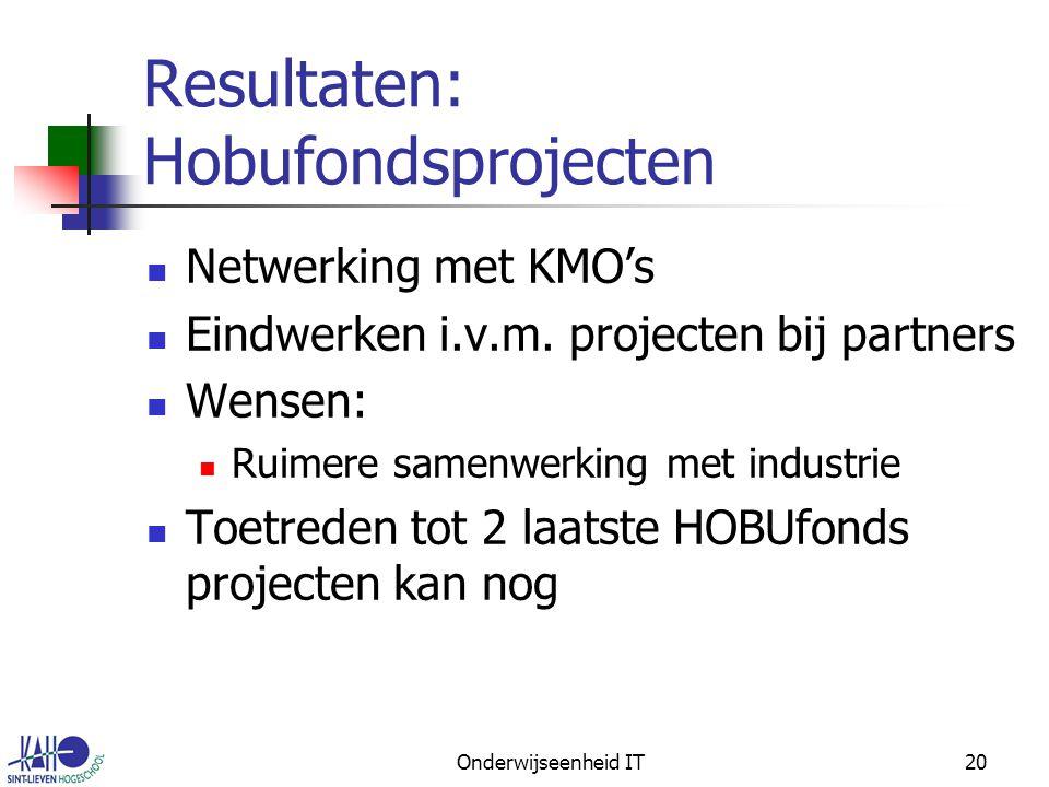 Onderwijseenheid IT20 Resultaten: Hobufondsprojecten Netwerking met KMO's Eindwerken i.v.m.