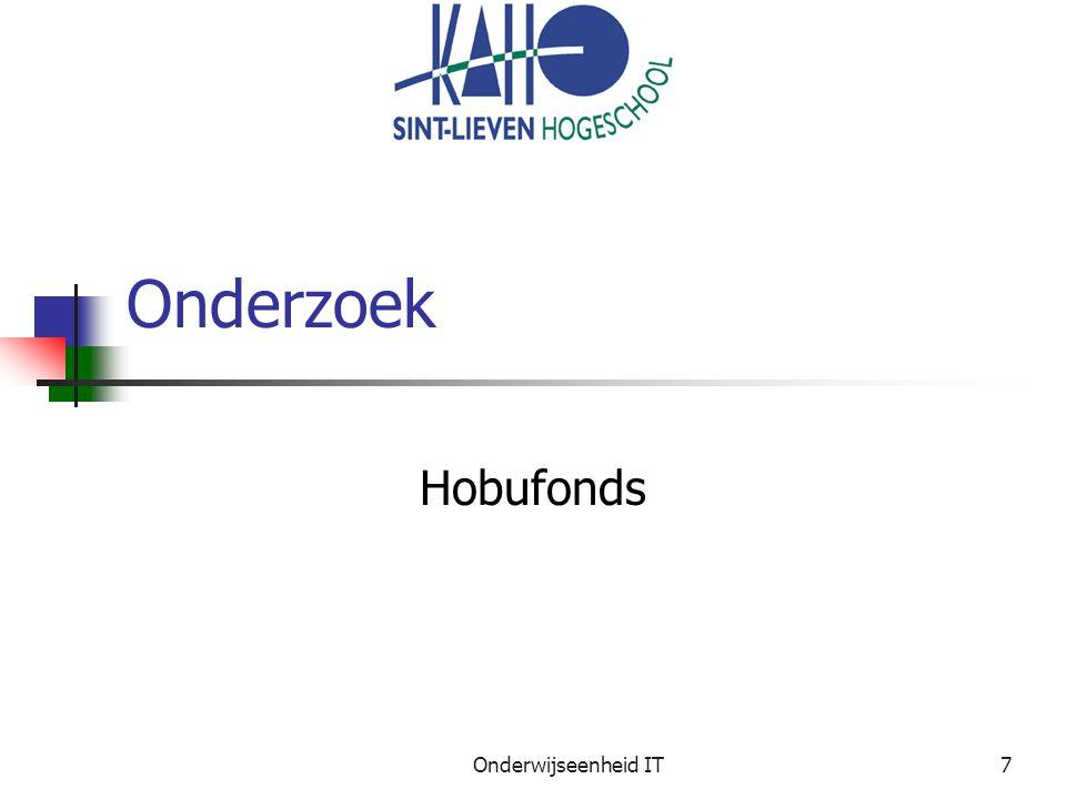 Onderwijseenheid IT7 Onderzoek Hobufonds