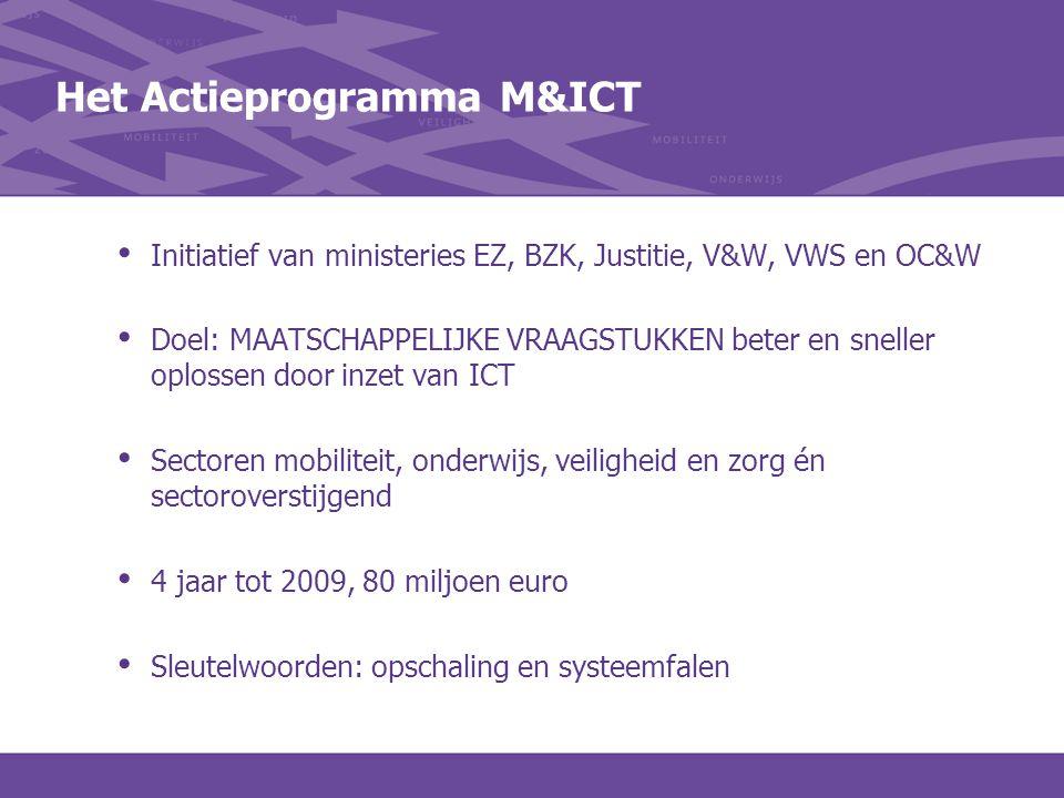 Het Actieprogramma M&ICT Initiatief van ministeries EZ, BZK, Justitie, V&W, VWS en OC&W Doel: MAATSCHAPPELIJKE VRAAGSTUKKEN beter en sneller oplossen