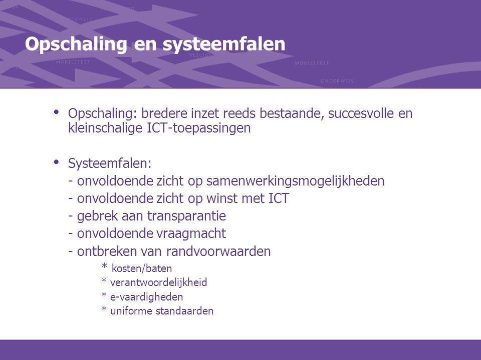 Opschaling en systeemfalen Opschaling: bredere inzet reeds bestaande, succesvolle en kleinschalige ICT-toepassingen Systeemfalen: - onvoldoende zicht