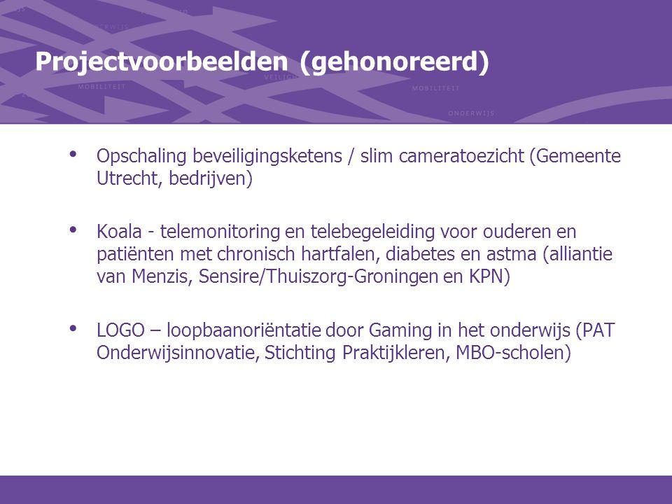 Projectvoorbeelden (gehonoreerd) Opschaling beveiligingsketens / slim cameratoezicht (Gemeente Utrecht, bedrijven) Koala - telemonitoring en telebegel